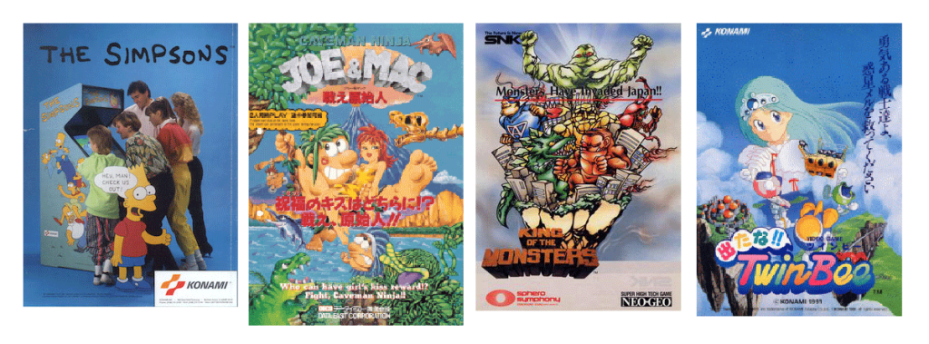 The Simpsons  By Source, Fair use, https://en.wikipedia.org/w/index.php?curid=14164423  Caveman Ninja  By Source, Fair use, https://en.wikipedia.org/w/index.php?curid=14982501  King of the Monsters  By Source (WP:NFCC#4), Fair use, https://en.wikipedia.org/w/index.php?curid=58922343  Detana!! TwinBee