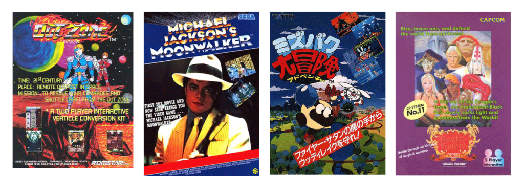 Out Zone  By Source (WP:NFCC#4), Fair use, https://en.wikipedia.org/w/index.php?curid=62025013  Michael Jackson's Moonwalker  By The Arcade Flyer Archive [1]., https://en.wikipedia.org/w/index.php?curid=12965758  Liquid Kids  By Source (WP:NFCC#4), Fair use, https://en.wikipedia.org/w/index.php?curid=63997681  Magic Sword  By Source, Fair use, https://en.wikipedia.org/w/index.php?curid=19092184