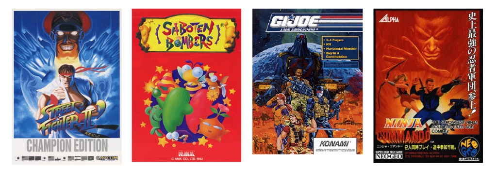 Street Fighter II: Champion Edition  Saboten Bombers  By Source, Fair use, https://en.wikipedia.org/w/index.php?curid=41425168  G.I. Joe  By Source, Fair use, https://en.wikipedia.org/w/index.php?curid=24701778  Ninja Commando  By Source (WP:NFCC#4), Fair use, https://en.wikipedia.org/w/index.php?curid=61298339